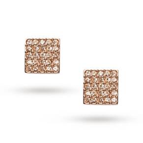 Fossil Ladies Rose Gold Coloured Square Glitz Stud Earrings