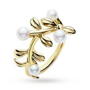 Mikimoto Ring Pearl Branch 18ct Yellow Gold