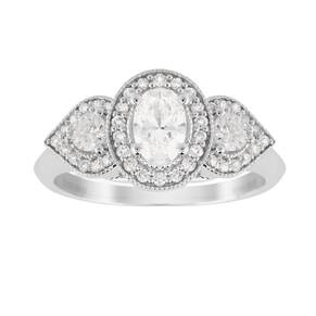 Jenny Packham Three Stone Oval Cut 0.95 Carat Total Weigh ...