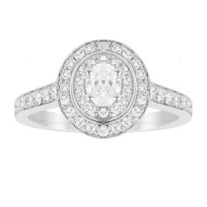 Jenny Packham Oval Cut 0.70 Carat Total Weight Double Hal ...