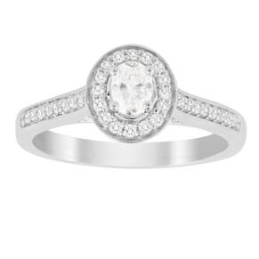 Jenny Packham Oval Cut 0.35 Carat Total Weight Halo Diamo ...