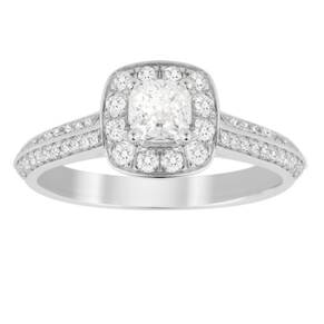 Jenny Packham Cushion Cut 0.70 Carat Total Weight Halo Di ...
