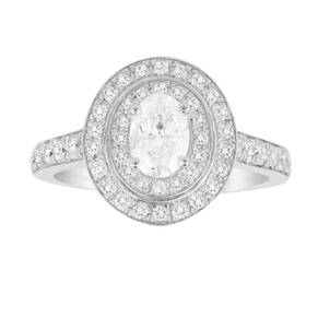 Jenny Packham Oval Cut 1.20 Carat Total Weight Double Hal ...
