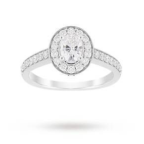 Jenny Packham Oval Cut 0.85 Carat Total Weight Halo Diamo ...