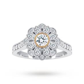 Jenny Packham Platinum 0.75 Carat Flower Cluster With Yel ...