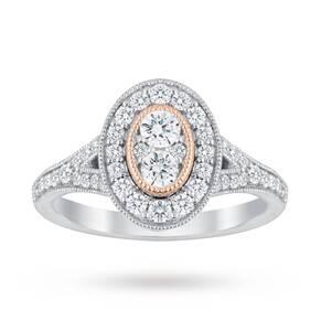 Jenny Packham Platinum 0.60 Carat Diamond Oval Ring With ...