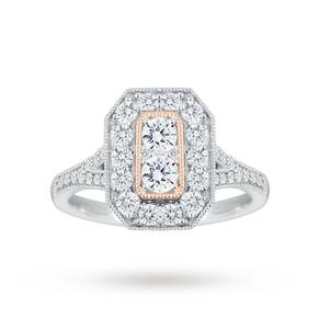 Jenny Packham Platinum 0.90 Carat Diamond Ring With Rose ...