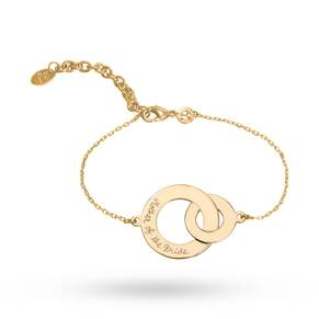 Merci Maman Yellow Gold Plated Mother Of The Bride Double Circle Chain Bracelet