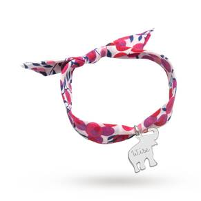 Merci Maman Liberty Print Silver Be Wise Elephant Bracelet