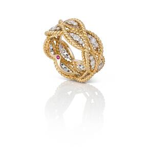 Roberto Coin New Barocco 18ct Gold 0.96ct 3 Row Ring