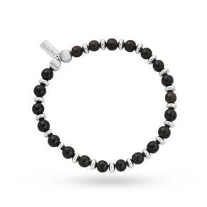 ChloBo Mens Black Horn Slim Round Bracelet