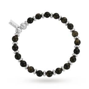 ChloBo Mens Golden Obsidian Ball Bracelet