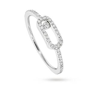 Messika 18ct White Gold Move Uno Diamond And Pave Set Diamond Ring - Ring Size K