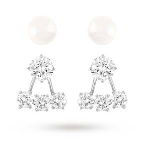 SWAROVSKI Attract Pearl Pierced Earrings Jacket Set