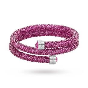 SWAROVSKI Crystal dust Pink Double Bangle 5273643 Medium