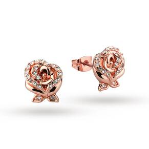 Disney Couture Beauty & the Beast Crystal Rose Earrings