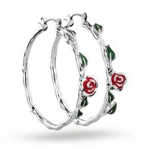 Disney Couture Beauty & the Beast Belle's Rose Hoop Earrings
