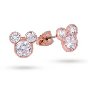 Disney Couture Rose Gold Plated Crystal Mickey Mouse Stud Earrings