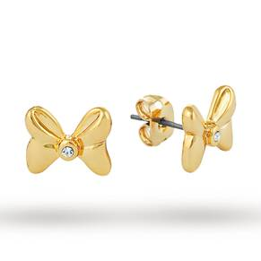 Disney Couture Gold Plated Minnie Mouse Bow Stud Earrings With Crystals