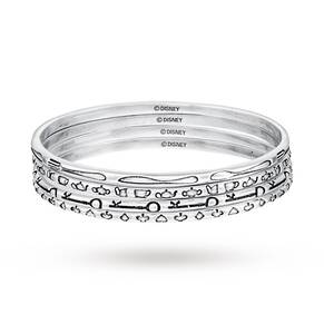 Disney Couture White Gold Plated Alice In Wonderland Set Of 4 Bangles