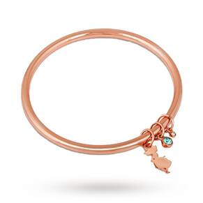Disney Couture Rose Gold Plated Alice In Wonderland Charm Bangle