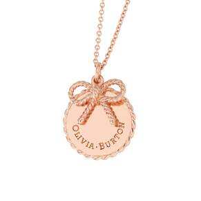 Olivia Burton Coin and Bow Necklaces Rose Gold