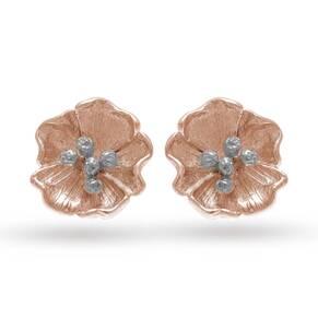 Olivia Burton Flower Show Poppy Stud Earrings Rose Gold & Silver OBJ16FSE01