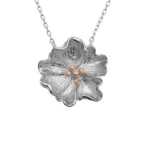 Olivia Burton Flower Show Poppy Necklace Silver & Rose Gold OBJ16FSN03