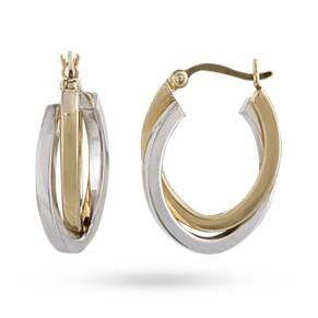 9ct 2 Colour Gold Hoop Earrings
