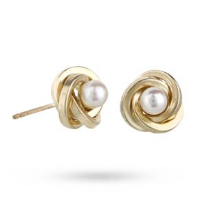 9ct Yellow Gold and Pearl Knot Stud Earrings