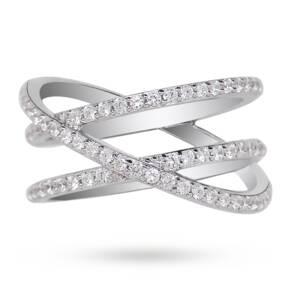 apm Monaco Silver Swarovski Zirconia Set Ring