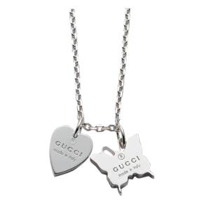 Gucci Trademark Silver Butterfly and Heart Necklace