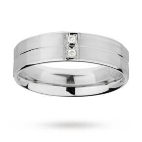 5mm gents diamond set palladium 950 ring