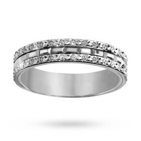 Ladies fancy diamond cut wedding ring in 9 carat white gold - Ring Size K