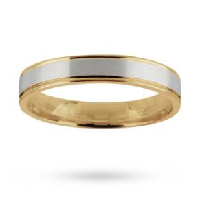 Gents wedding band in 18 carat white and yellow gold - Ring Size Q