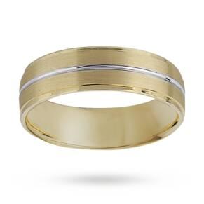 6mm matt and polished gents wedding ring set in 9 carat y ...