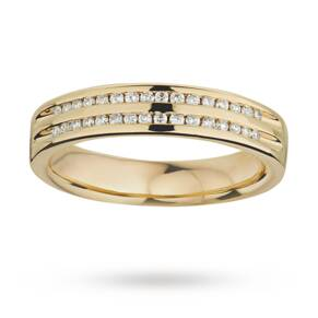 Ladies double row diamond set wedding ring in 9 carat yellow gold - Ring Size K