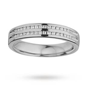 Ladies double row diamond set wedding ring in 9 carat white gold - Ring Size K