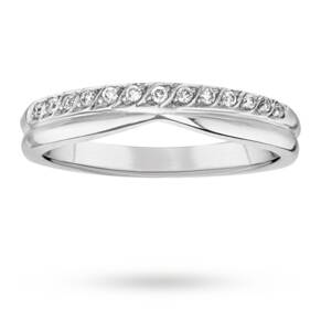 Ladies Diamond Set Shaped Wedding Ring in 18 Carat White Gold - Ring Size K