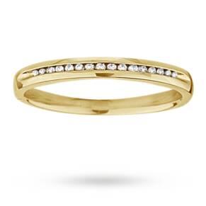 Ladies diamond set 2mm wedding ring in 18 carat yellow gold