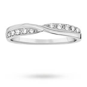 Ladies 0.09 total carat weight diamond set kiss wedding r ...