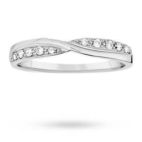 Ladies 3mm platinum 0.09 total carat weight diamond set k ...
