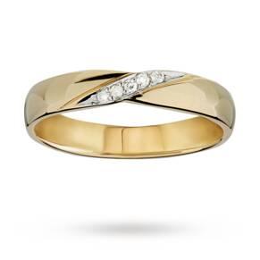 Ladies diamond set kiss 3mm wedding ring in 18 carat yellow gold - Ring Size N.5