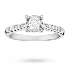 Brilliant cut 0.19 total carat weight solitaire and diamo ...