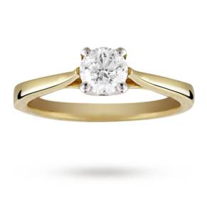 Solitaire Brilliant Cut 0.50 Carat Diamond Ring Set In 18 Carat Yellow Gold