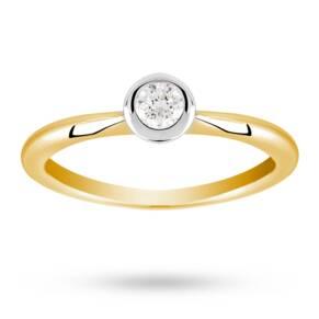 Brilliant cut 0.20 carat solitaire diamond ring set in 18 ...