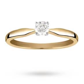 Brilliant Cut 0.20 Carat Solitaire Diamond Ring Set In 9 ...