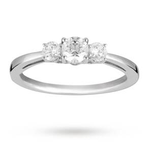 Brilliant Cut 0.50 Total Carat Weight Three Stone And Dia ...