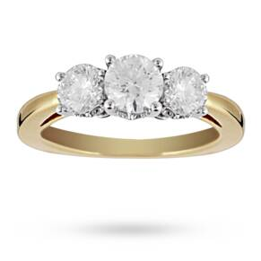 Brilliant Cut 1.00 Total Carat Weight Three Stone And Dia ...