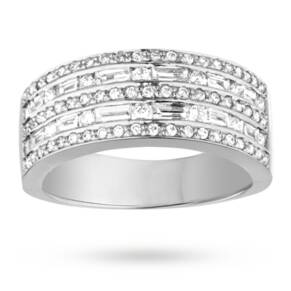 Brilliant and Baguette cut 0.75 total carat weight diamon ...